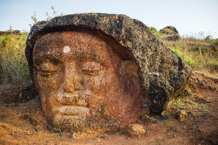 karnataka culture: Old Lord Shiva statue near the Gokarna city in India, Karnataka state Stock Photo