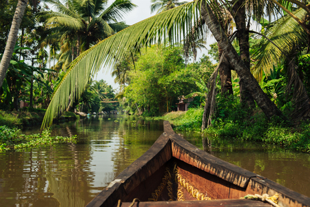 backwater: Small tourist boat on beautiful backwaters landscape in Alleppey with palm trees on background, Kerala, India
