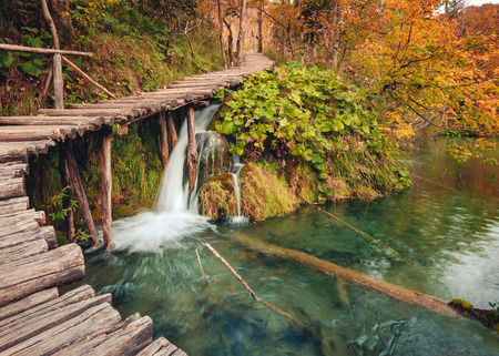 Wooden footpath in autumn forest in Plitvice Lakes National Park, Croatia Stock Photo