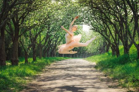 Young woman with perfect body dancing in the green landscape. Beautiful ballerina showing classic ballet poses and jumping high into the air. Concept of female tenderness and harmony life. Stock Photo