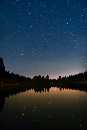 Milky Way and full sky with stars reflected in mountain lake and forest.