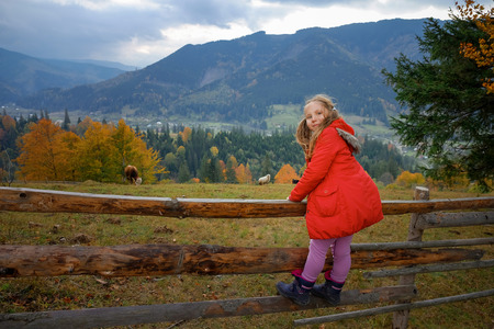 Full length portrait of a cute little girl with two ponytails standing on a wooden fence in Carpathian village in Autumn. Looking at camera. Family time, eco trip concept.
