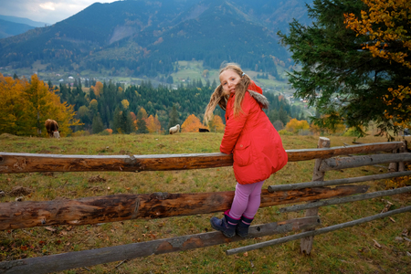 Full length portrait of cute little girl with two ponytails standing on a wooden fence in a half turn in Carpathian village in Spring.Looking at camera. Family time, eco trip concept.