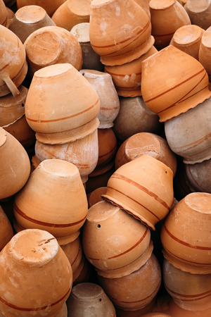 Close up of heap of clay pots in Goreme, Cappadocia. Turkey traditional ceramic.