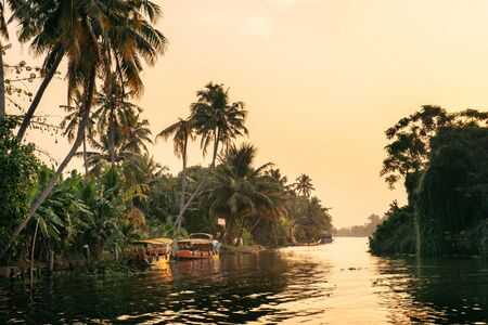 Beautiful backwaters landscape in Alleppey city with local boat with gold sunrise on background, Kerala, India