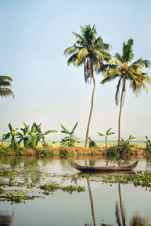 Tourist boat on Alleppey backwaters, India