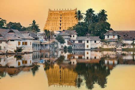 Sree Padmanabhaswamy temple at sunset, Thiruvananthapuram city, Kerala, India