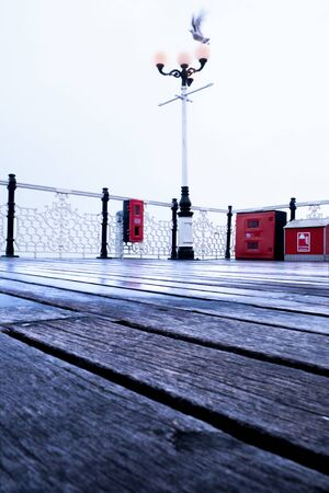texture of wooden floor of the pier in the forefround with antique lamp post in the background red life belts on railing and a seagull with movement in full flight landing on the lampost