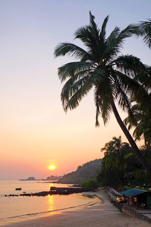A tropical bay with a calm sea and palm trees, Red glow from the setting sun over Viaguinim Beach, Panaji, Goa, India, vertical format