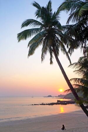 A tropical bay with a calm sea and palm trees, Red glow from the setting sun, in the distance an unrecognizable woman is sitting looking at the setting sun, Viaguinim Beach, Panaji, Goa, India, horizontal format