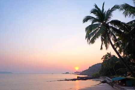 A tropical bay with a calm sea and palm trees, Red glow from the setting sun over Viaguinim Beach, Panaji, Goa, India, horizontal format