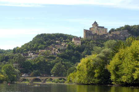Castelnaud, the village and its castle. French village in the Perigord region where the war took place 100 years photo