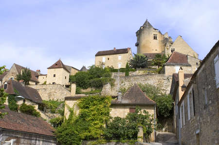 Castelnaud, the village and its castle. French village in the Perigord region where the war took place 100 years Stock Photo