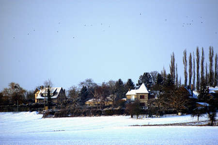 Landscape of French countryside in winter photo