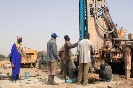 All stages of the drilling of a well in Burkina Faso Faso. Water is with 40 meters of depth and it is necessary to use a truck of drilling. To final manual pump will be assembled so that the well is protected from all pollution outside. A well costs 8000