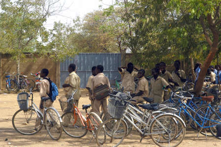 Bicycles of the pupils of the college Saint-Philippe de Koup�la in Burkina Faso Faso.