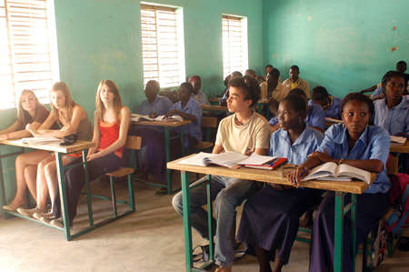 Visit French schoolboys in Burkina Faso Faso in a school of a village. Exchanges are done between the small French and the small Africans for better understanding the differences in life between them.