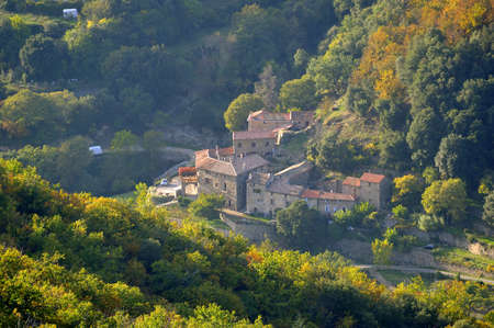 village of the Cevennes in autumn in the department of Gard photo