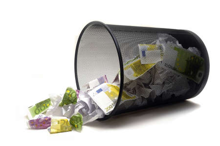 To throw its money with the dustbin by error or ignorance in the business photo