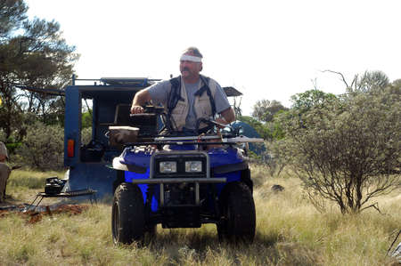 prospection: Gold bearing prospection in the Australian bush in quad to have a larger research area and to find the most beautiful gold nuggets.