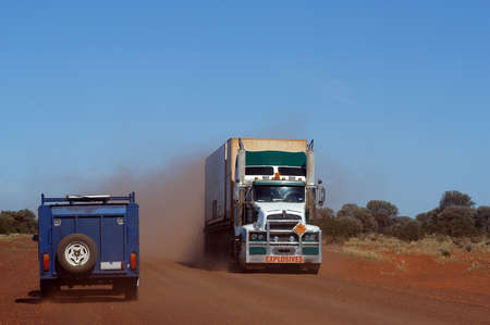 On the track in the Australian bush, a truck of explosives delivers a goldmine photo