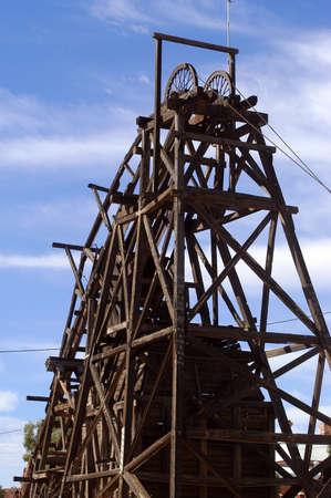 leonora: mine shaft of the goldmine of Leonora in the Australia Western Stock Photo