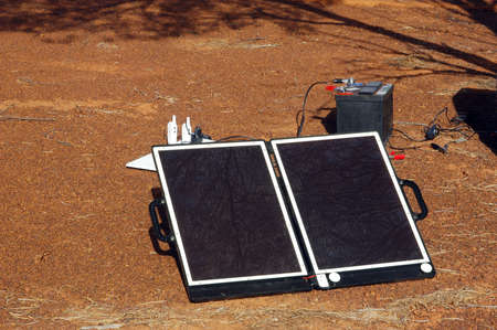 Solar panel in the Australian bush for the refill of the batteries of the electronic devices Stock Photo - 17535036