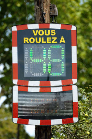 Speed control to inform the motorists their speed. Stock fotó