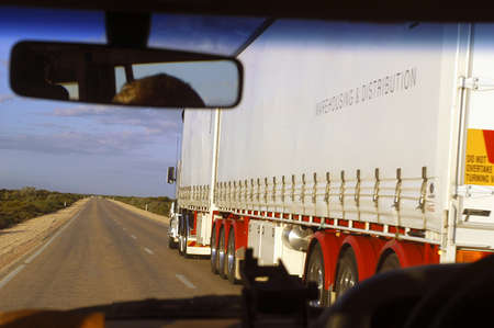 to double a long truck on an Australian road photo