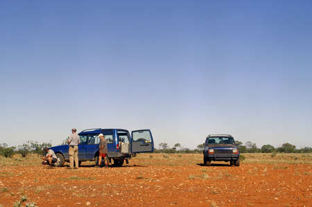 goldmine: Departure at dawn for hunting for the gold nuggets in the Australian bush