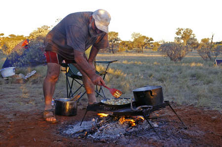 kitchen on the campfire in the Australian desert Stock Photo