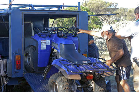 storage of the quad in the trailer
