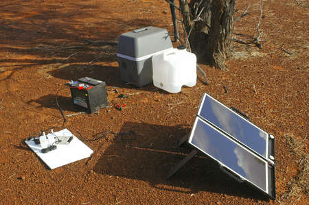 solar panel to produce its electricity in the Australian desert photo