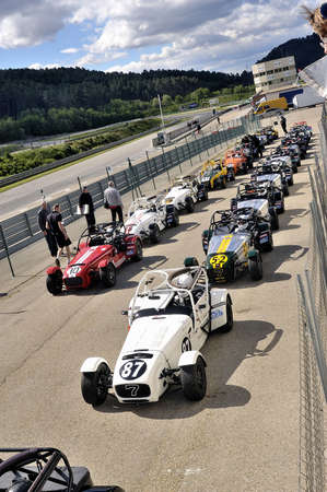 chases of Caterham on the circuit of the Cevennes with Ales in the French department of Gard the May 24th and 25th, 2013. on the starting line before the race