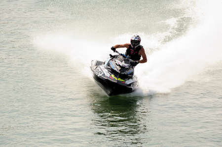 Ales - France - on July 14th, 2013 - Championship of France of Jet Ski on the river Gardon. J. Perez In full race