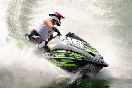 Ales - France - on July 14th, 2013 - Championship of France of Jet Ski on the river Gardon. Hervé Partouche stops his machine in a tight turn