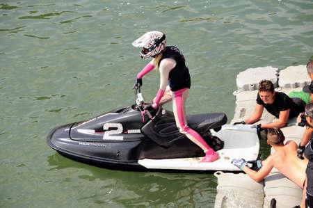 Ales - France - on July 14th, 2013 - Championship of France of Jet Ski on the river Gardon. preparing before the race