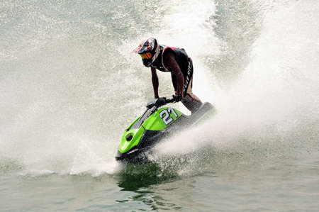 Ales - France - on July 14th, 2013 - Championship of France of Jet Ski on the river Gardon. In full race