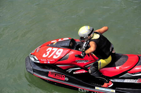 ligne: Ales - France - on July 14th, 2013 - Championship of France of Jet Ski on the river Gardon. Sur la ligne de d�part