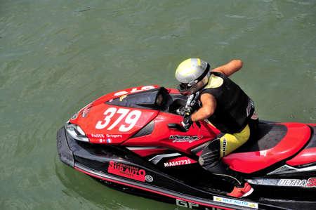 ligne: Ales - France - on July 14th, 2013 - Championship of France of Jet Ski on the river Gardon. Sur la ligne de départ Editorial