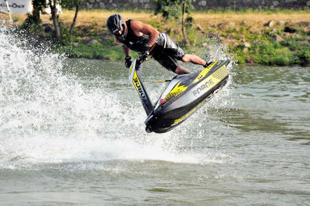 Ales - France - on July 14th, 2013 - Championship of France of Jet Ski on the river Gardon. lifting category or freestyle