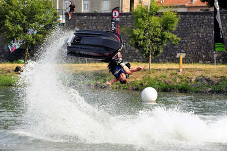 nad: Ales - France - on July 14th, 2013 - Championship of France of Jet Ski on the river Gardon. lifting category or freestyle
