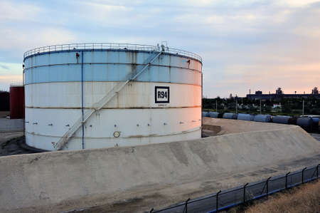 French oil refinery in Fos on sea beside Marseille  Tanks of storage