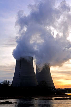 Nuclear power station in France on background sunset photo