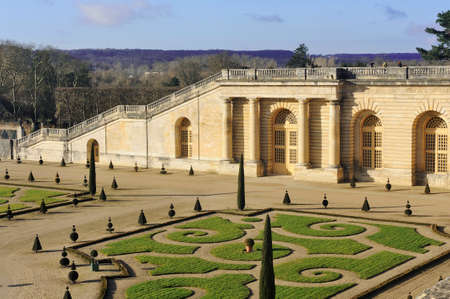 The orangery park of the castle of Versailles in alignment with the water part of the Swiss