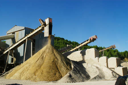 sand quarry: gravel pit operation that produces sand and gravel for construction Stock Photo