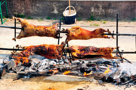 roasted piglets before the restaurant opened Ales beach summer  French town in the Cevennes Gard on the banks of the Gardon  photo