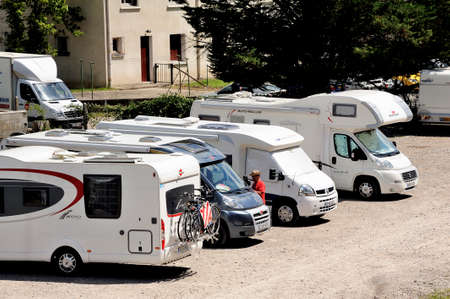 homeowners: The motorhome parked in Anduze the time for homeowners to make the trip by the tourist steam train station