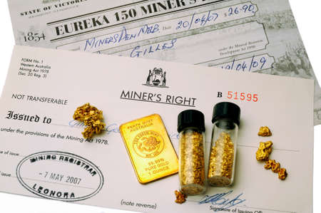 Australian mining permit issued by the police to have the right to seek gold in Australian soil