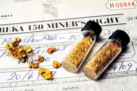 prospector: Permiso minero australiano emitido por la policía para tener el derecho de buscar oro en suelo australiano Editorial